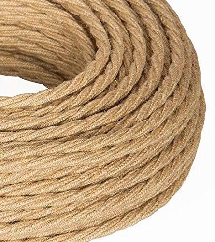 5 m cable eléctrico trenzado estilo vintage revestido en tela de yute...