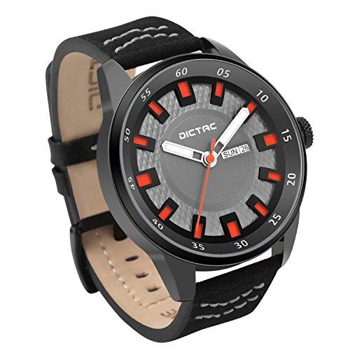 Dictac Herren Armbanduhr Sport wasserdicht Analog Quarz zeigt Datum Lederband mit Armband aus Silikon, Nero+Grigio