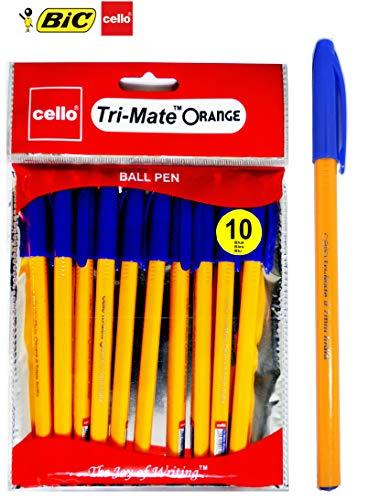 BIC Cello Original Orange - Bolígrafo de punta media (0,7 mm), color naranja, color azul juego de 10