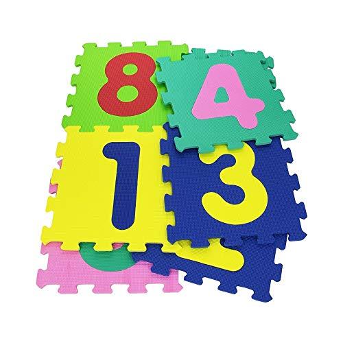 Cigioki 232026 Alfombra Puzzle Suave con NÚMEROS 10 Piezas 29.5 x 29.5 x 8 cm Colorida