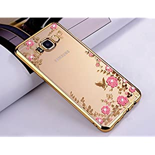 TPU Case for Samsung Galaxy J3 2016, Case Silicone Soft Elegant Cover for Galaxy J3 2016, ZCRO Flowers Butterfly Pattern Transparent Silicone Gel TPU for Samsung Galaxy J3 2016, Electroplating Bumper Frame Bling Crystal Glitter Sparkle Rhinestone Diamonds Design Flexible Luxury Fashion Ultra Thin Durable Clear Rubber Silicone Back Cover for Samsung Galaxy J3 2016 / J3 2015 / J320 (Gold and Pink)