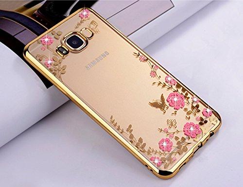 ZCRO Cover per Samsung Galaxy J5 2016 / J510, Custodia Cover Trasparente Silicone TPU Gel Case Glitter Brillantini Diamante Sottile Gomma Morbida Custodia per Samsung Galaxy J5 2016 / J510(Oro,Rosa)
