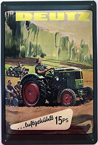 Deko7 Blechschild 30 x 20 cm Deutz Traktor luftgekühlt 15 PS