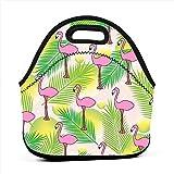 Bolsas para el almuerzo Patrón tropical sin costuras con caja de asas con...