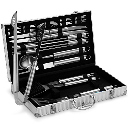 VonHaus 24-piece BBQ Utensil Set - Stainless Steel Set in Aluminium...