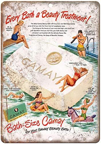 Radiancy Inc Camay Beauty Bad Seife Eisen Malerei Blechschild Wand Vintage dekoratives Poster Warnung Plakette Deko Tide für Zimmer Café Bar Club Garten Parkplatz