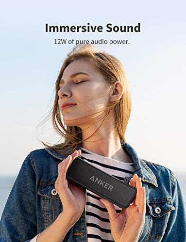 Anker Soundcore 2 Portable Bluetooth Speaker with 12W Stereo Sound, Bluetooth 5, Bassup, IPX7 Waterproof, 24-Hour Playtime, Wireless Stereo Pairing, Speaker for Home, Outdoors, Travel