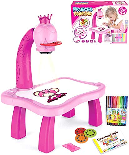 HHYSPA Children Drawing Projector, Children's Intelligent Projection Painting Machine, Enlightenment Early Education Intelligent Painting Machine Drawing Sketch Board, Learning Desk Toy pink