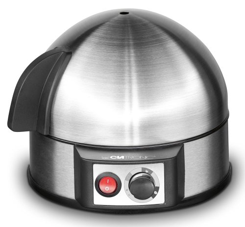 Clatronic EK 3321 Eierkocher mit Härtegradeinstellung (7 Eier), akustisches Endsignal, Messbecher mit Eipicker, 400 Watt, Inox