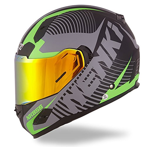 NENKI Full Face Street Bike Motorcycle Helmets DOT Approved with Iridium Red Visor and Inner Sun Shield (M, Matt Black & Green)