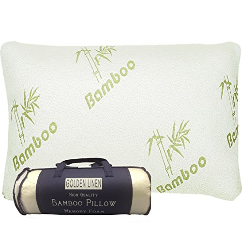 Bamboo Pillow Memory Foam - Stay Cool Removable Cover with...