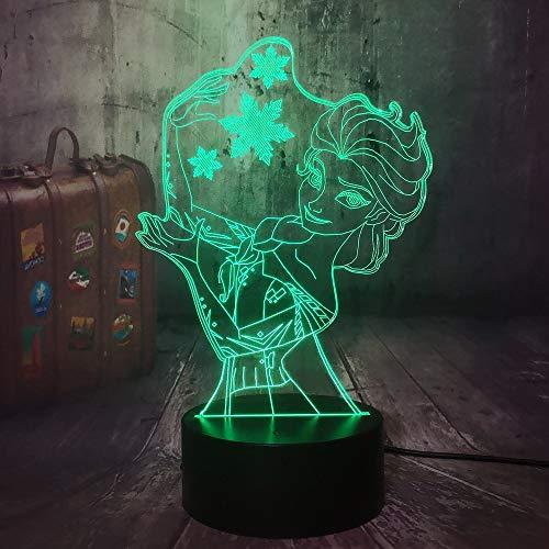 Belle Reine Princesse Neige Elsa 3D Lampe Visuelle Illusion LED Veilleuse Jouets Décor À La Maison Fille Bébé Anniversaire Cadeaux De Noël 3D veilleuse