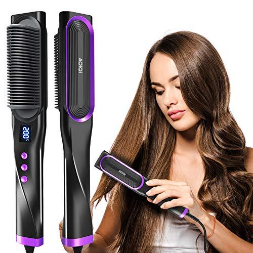 Haarglätter Bürste,Glättbürste mit Anti Verbrühen,30 Sekunden PTC Keramikheizung Technologie,Auto abgeschaltet,7 Einstellbare Temperatur,LCD-Display