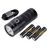懐中電灯LED Sofirn BLF SP36 フラッシュライト USB-C充電式 最強 4X CREE XPL2 超高輝度6000ルーメン 照射距離550メートル 防災 停電対策 地震対策 キャンプ 登山 EDC アウトドア アップグレード Narsilm V1.2 18650電池X3付属