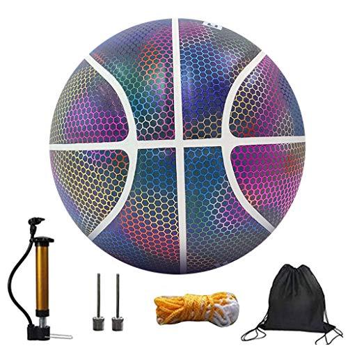 HSD Balón de baloncesto holográfico reflectante estándar n.º 7 de 5ª generación, arcoíris ligero, entrenamiento nocturno, juguete de noche