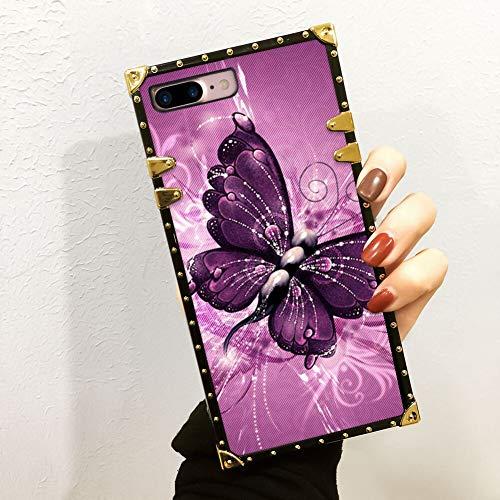 FAUNOW Funda cuadrada de lujo para iPhone 7/8 Plus, carcasa de policarbonato duro de TPU suave, estilo mariposa en cuatro esquinas, carcasa protectora de metal anticaída para niñas y mujeres