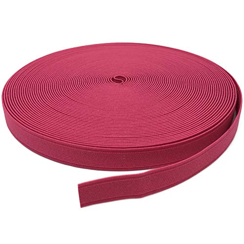 YJRVFINE Thick Flat Strong Rose Red Knit Elastic Bands Spool Stretch Rope for Sewing Wigs Underwear 3/5inch x 17Yards(1 Roll)