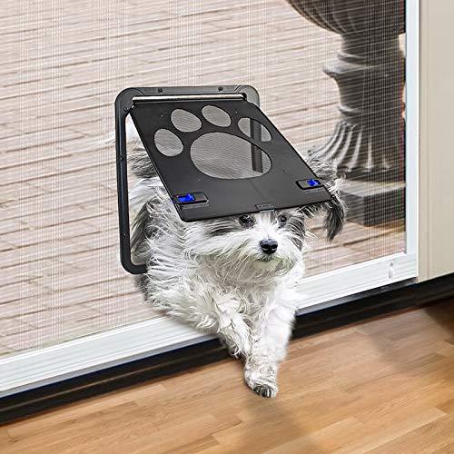 """PETLESO Dog Door Screen - Lockable Doggie Door for Screen Door Sliding Door for Small Dogs Cats- Small (Inside - 8.25""""×10.5"""")"""