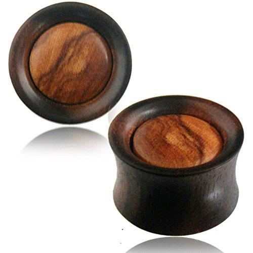 CHIC Net Plug Arang madera oscuro madera de olivo claro, veteada Mediados De Túnel tribal Expander Organic Talla:08 mm