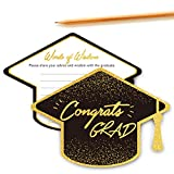 Chillake Graduation Advice Wishes Card - Words of Wisdom Cards for Graduate - Graduation Party Gift Ideas for High School or College Graduation Party - 5 x 7 Inches - Set of 30 (Academic Cap Shape)
