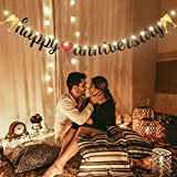Happy Anniversary Banner Gold and Black Glitter Sign Banner with String Light 8 Flicker Mode, Anniversary Hanging Sign Garland for Anniversary Wedding Party Ceremony Decoration