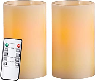 """Homemory 5"""" Real Wax Flameless Flickering Candles Battery Operated LED Pillar Candles, with Remote Control & Convenient Timer for Wedding, Party, Festival (Pack of 2, Ivory)"""