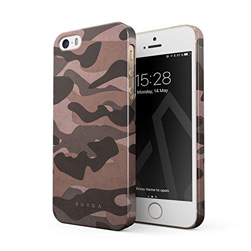 BURGA Cover per iPhone 5 / 5s / SE - Militare Roso Camuffament Pink Tiger Camo Camouflage Design Sottile Guscio Resistente in Plastica Dura Custodia Protettiva