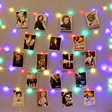 HXWEIYE 120LEDs Multicolor Photo Clips String Light, 40Ft Fairy Light with 52 Clear Clips & 10 Hooks on Wall, Timer & 8 Modes USB Powered Copper Wire String Light for Hanging Picture, Bedroom Party