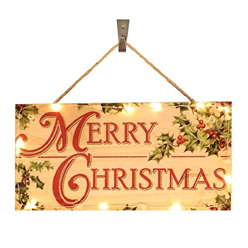 Onemopie Glowing Christmas Wooden Hanging Indoor and Outdoor Wood Door Decorations Signs,Home Decor Party Decoration Christmas Accessories 30 x 15cm