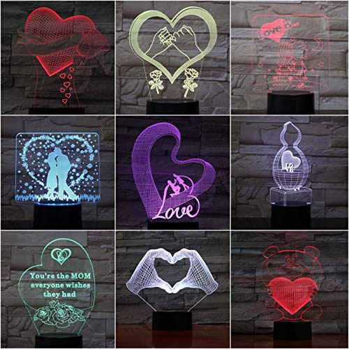 Lampada da tavolo Camera da letto Lampada da cuore Luci decorative per matrimoni gece lambasi Amante fidanzata Regali Neon USB 3D LED Luce notturna