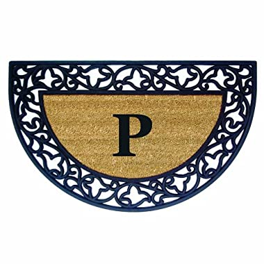 Nedia Home Acanthus Border with Half Round Rubber/Coir Doormat, 22 by 36-Inch, Monogrammed P