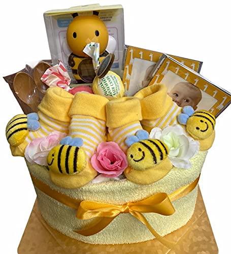 おむつケーキ 双子 男の子 女の子 みつばち ユニセックス ハチ 黄色 パンパース Sサイズ