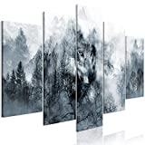 decomonkey Bilder Wald Wolf 200x100 cm 5 Teilig