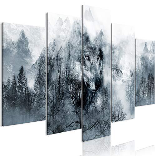 decomonkey Bilder Wald Wolf 200x100 cm 5 TLG. Leinwandbilder Bild auf Leinwand Vlies Wandbild Kunstdruck Wanddeko Wand Wohnzimmer Wanddekoration Deko Landschaft Tiere Natur