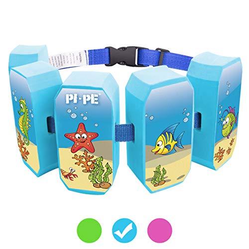 PI-PE Schwimmgürtel für Kinder - Schwimmhilfe ideal zum lernen und toben - 5 Blöcke je nach Fortschritt entfernbar - schönes Design für Jungen und Mädchen, Blau, One Size