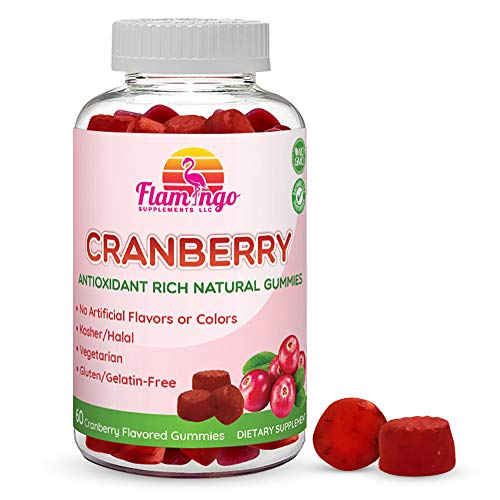 Cranberry Gummy Supplement for Women, Men, and Kids. 1000 mg, Vegan, Vegetarian, No Gluten, Gelatin or GMO. Kosher and Halal. 60 Count
