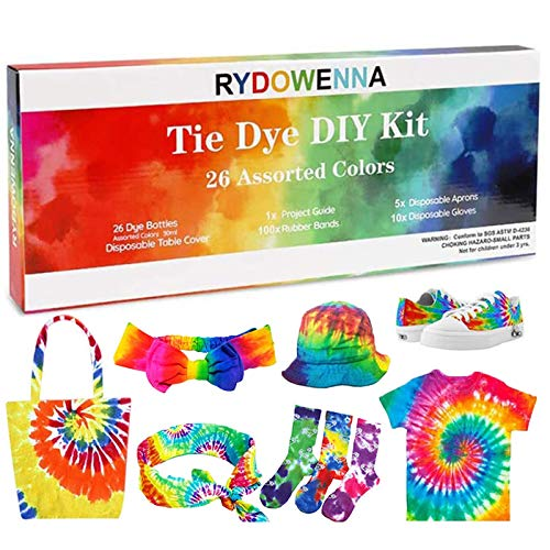 26 Colors DIY Tie Dye Kits,All in One Tie Dye Fabric Set with Rubber Bands, Gloves, Plastic Film and Table Covers for Kids,Adults,Family Groups Party Supplies,Non-Toxic DIY Tie-Dye Handmade Project
