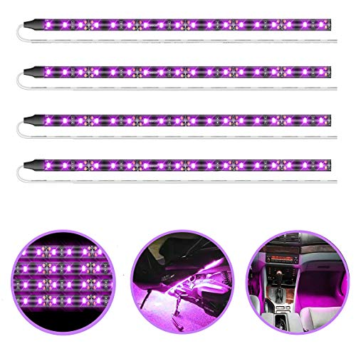 Geeon 4-Pack Pink-Purple Car LED Strip Lights 12''/cm 12V for Automotive Trucks Motorcycle Boats Interior Lighting Waterproof UL Listed