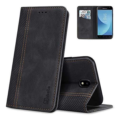 AKABEILA Samsung J3 Hülle Leder 2017, Kompatibel für Samsung Galaxy J3 2017 Handyhülle Silikon, für Galaxy J3 2017 Schutzhülle Brieftasche Klapphülle PU Magnetverschluss Kartenfächer Hüllen, Schwarz