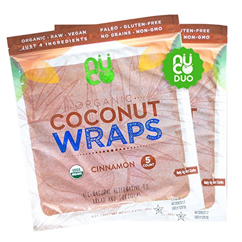 NUCO All-Natural, Certified Organic, Paleo, Gluten Free, Vegan Non-GMO, Kosher Raw Veggie Coconut Wraps Cinnamon Flavor. NO Salt Added Low Carb and Yeast Free 10 Count (Two Packs of Five Wraps Each)