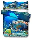 966 Funda de edredón y funda de almohada 3D Animal Turtle Shark Dolphin Penguin Coral Ocean World Printing Blue Bedding Set Poliéster Cremallera Niño Niña (1,Single 135x200 cm)