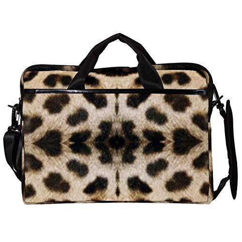 14.5 Inch Laptop Messenger Bag Canvas Briefcase Leopard Print Satchel Shoulder Bag with Detachable Straps