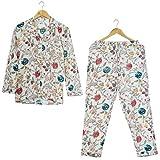 Handicraft Bazarr Juego de camisones decorativos tradicionales de bloque de mano floral de noche bata de yoga vestido de tiro de algodón ropa de dormir pijama conjunto de vestido de playa-XL
