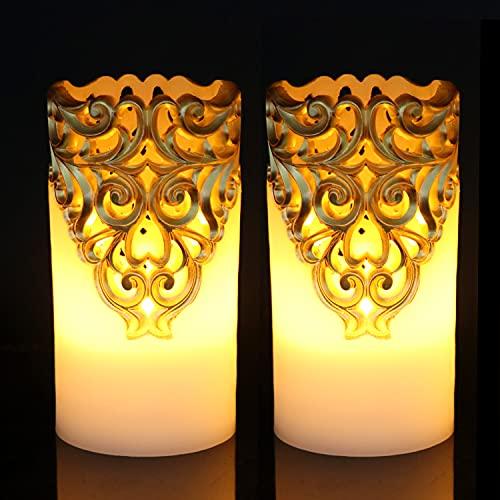 Eldnacele Velas de Navidad sin llama, con temporizador de 5H, cera real parpadeante funciona con pilas, velas pilares para decoración de Navidad, día festivo, color dorado (D3' x 6')