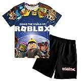 3D Teens Game Short Set, Crewneck Boys T Shirt, 2pcs T Shirt and Swim Trunk, Outfit Set for Boys Girls Small