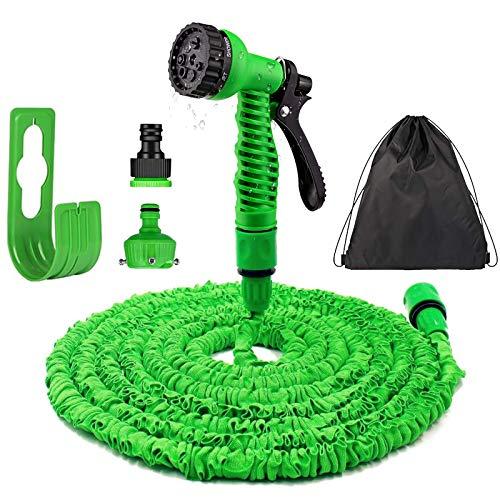 Flexibler Gartenschlauch - 30M/100ft Flexischlauch Gartenschlauch Schlauch mit 7 Funktionsspray, Dehnbar Wasserschlauch flexibel für Pflanzen, Haustier, Autowäsche, Hausreinigung(Grün). (30)