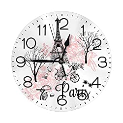 ANHUI Wall Clock Number Eiffel Tower in Paris Decorative Haning Clock Silent Non Ticking Round Clock for Living Room Kitchen Bedroom