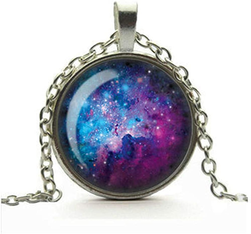 Purple Nebula Necklace, Universe Galaxy Pendant, Glass Cameo Cabochon Tile Necklace, Space Art Jewelry, Gift for Her, Handmade