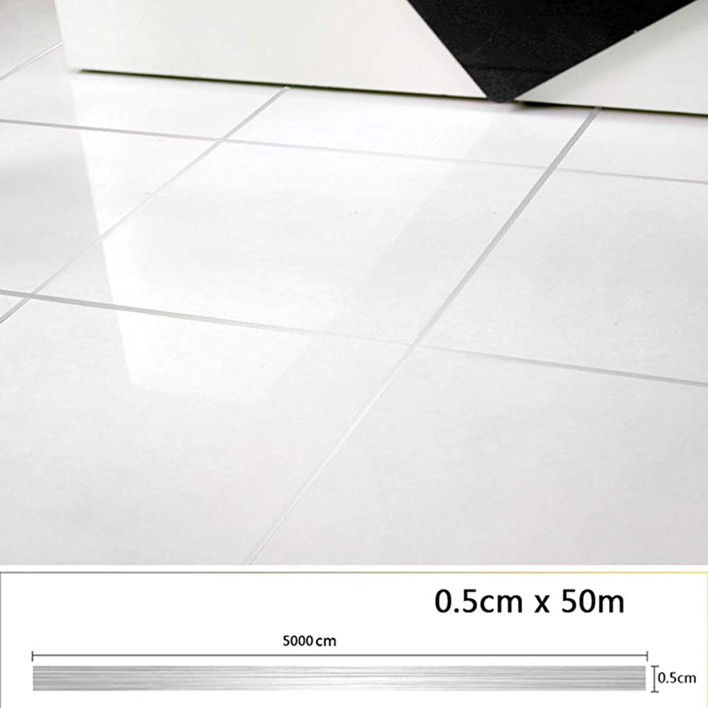 意義気晴らし動的タイルの装飾ラインステッカー、箔部屋の床の隙間ラインステッカー自己接着キラキラ地面のステッカータイルの装飾家の芸術の装飾(1cmx50m,シルバー)