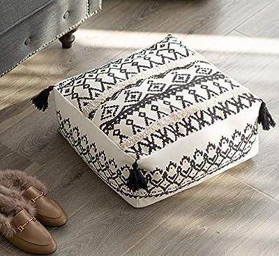 RISEON Boho Hand WovenContemporaryBlack White Boho Cotton LinenFabric Pouf Cover Footstool Ottoman Poufs Unstuffed-Square Floor Cushion Footrest Cover for Living Room, Bedroom and Under Desk